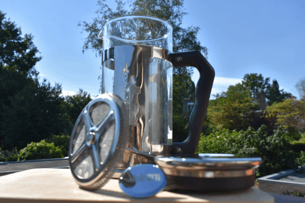 Which parts does a French press have? Fully disassembled French press.