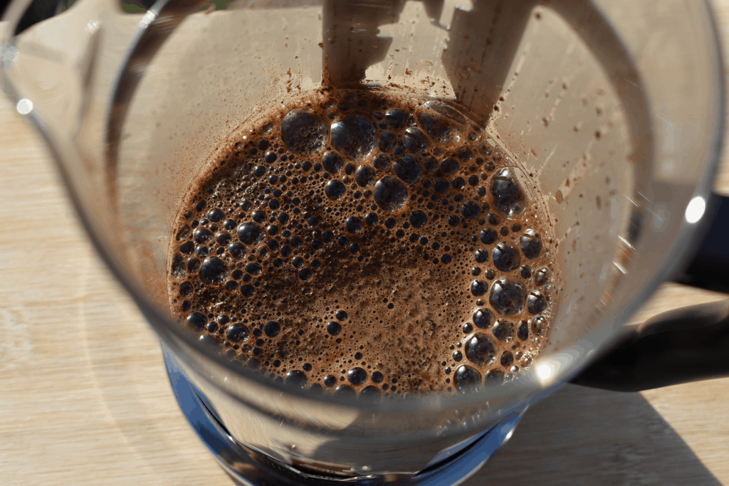 Blooming of coffee, made with French press