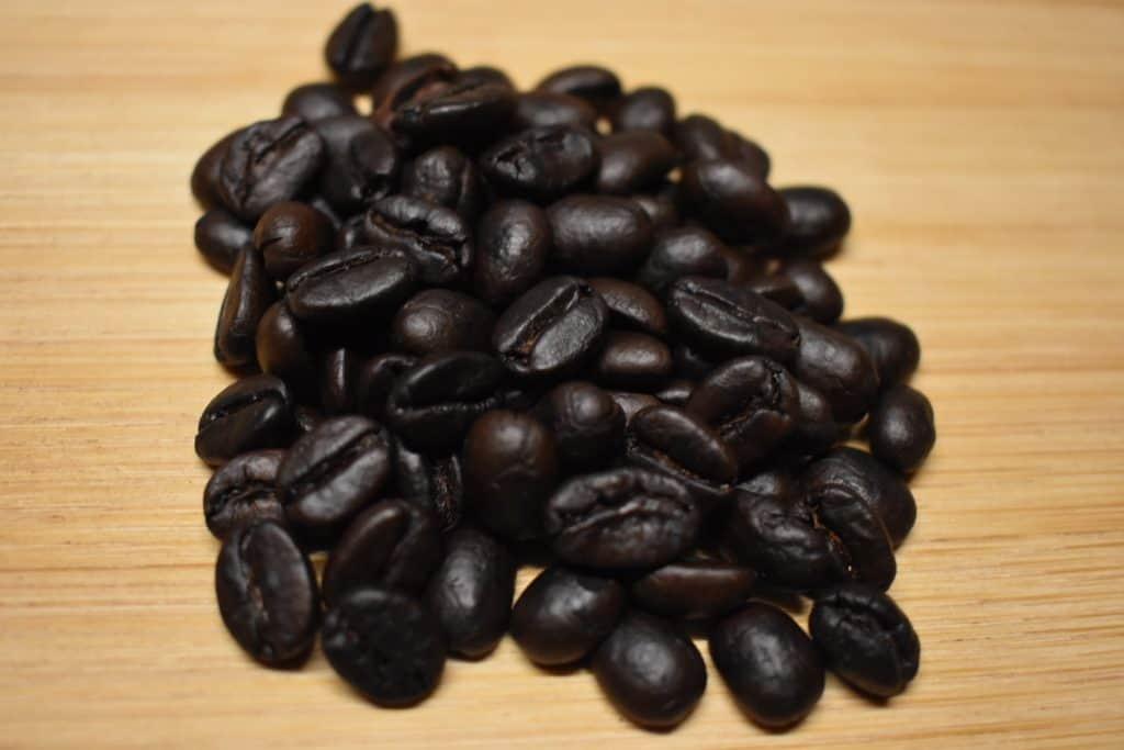 Pretty dark roasted coffee beans