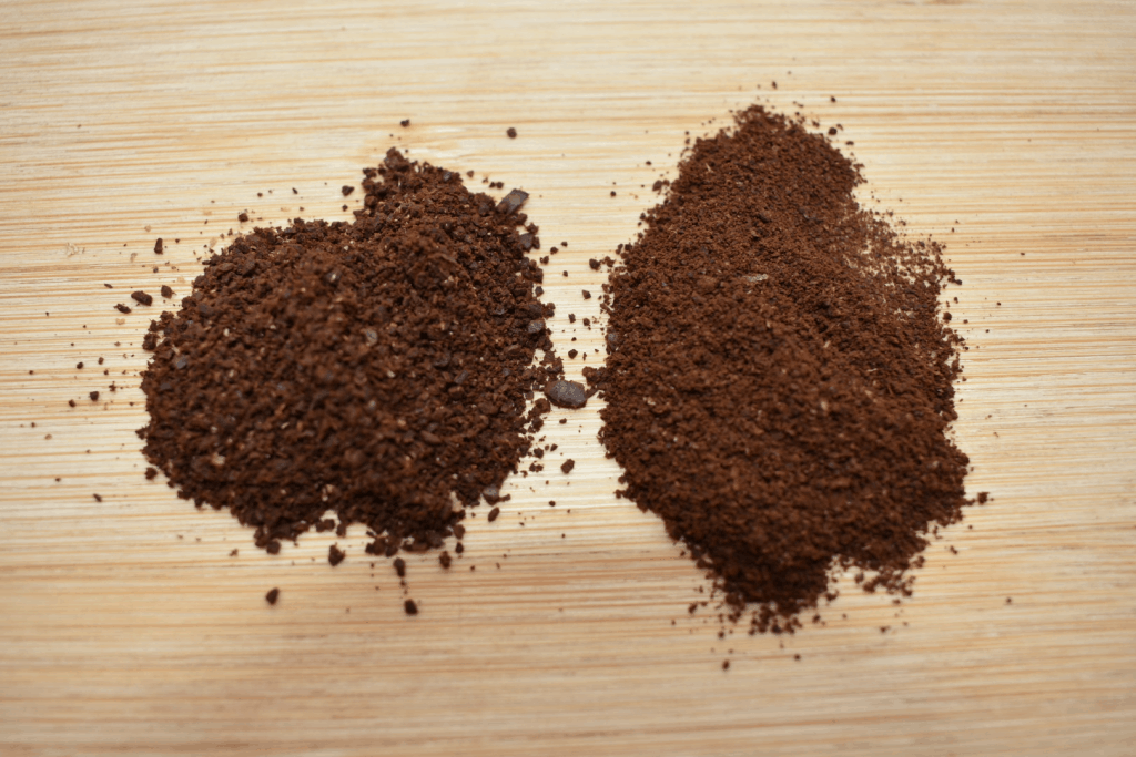 Coarse coffee beans with fine ground coffee beans