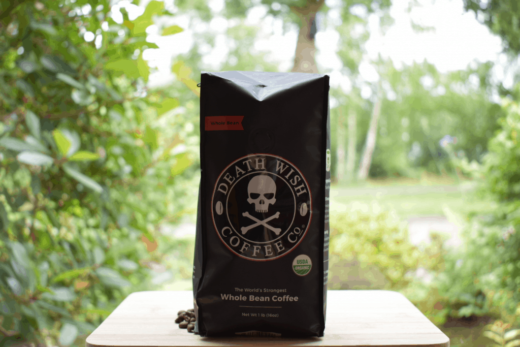 """""""Death wish coffee in its package."""""""