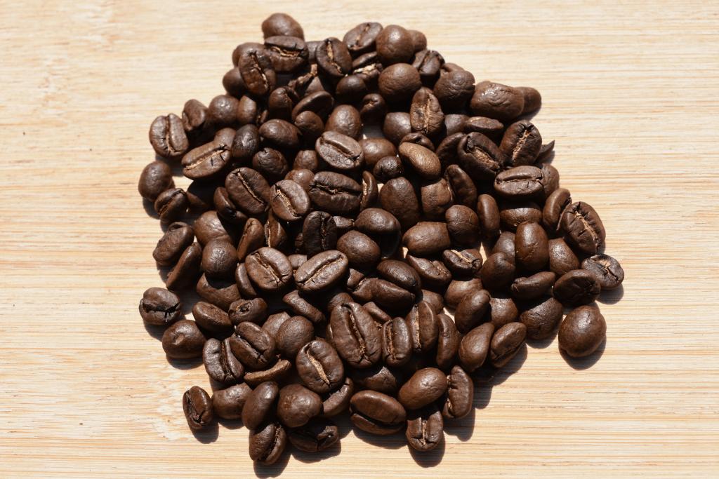 Photo of medium- dark roasted coffee beans for comparison
