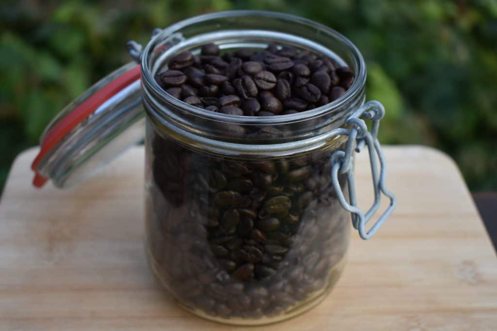 Container with coffee beans inside