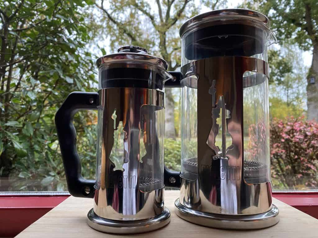 The Smallest French press on the left and the bigger 8 cup on the right of the photo