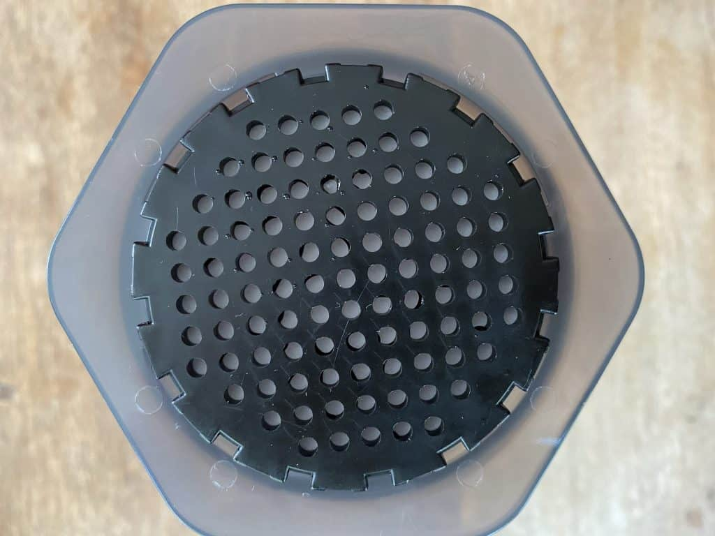 AeroPress filter on top of the chamber