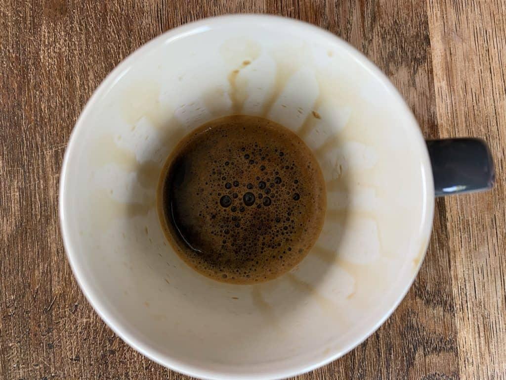 AeroPress inverted method, finished coffee