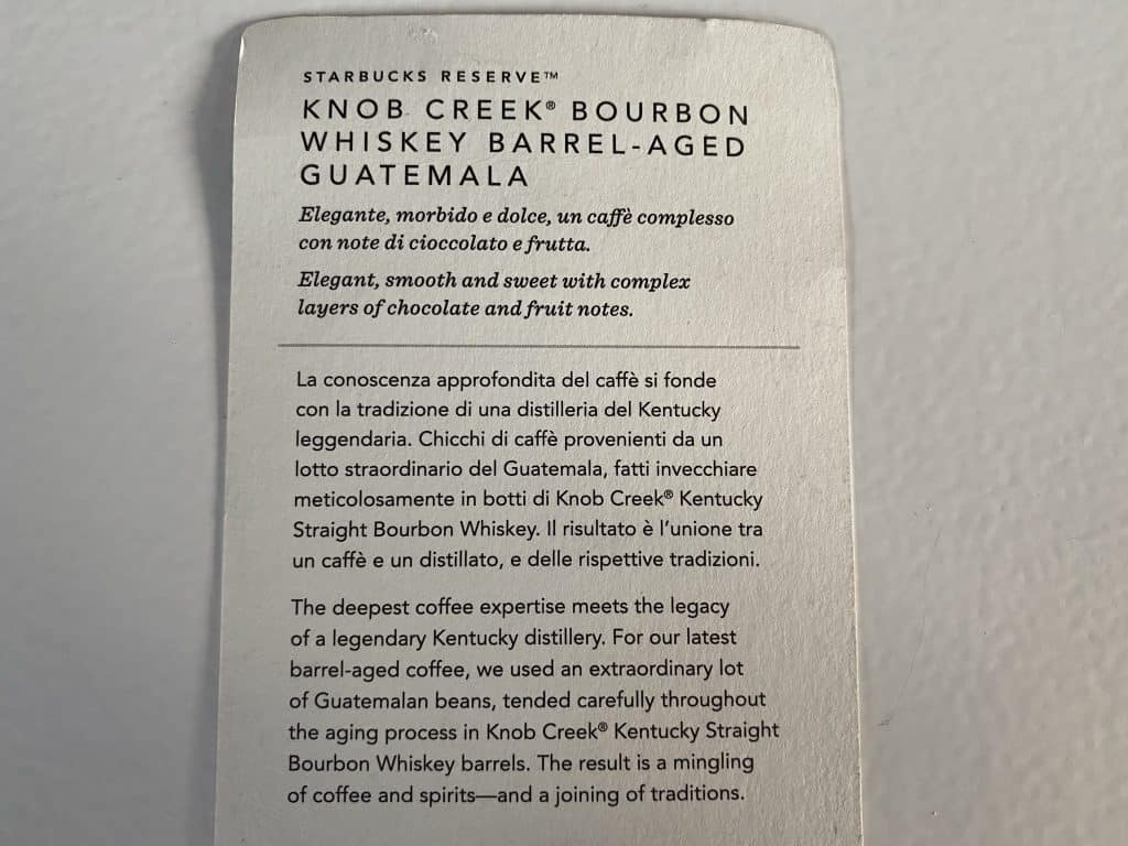 Starbucks reserve card from the whiskey barrel aged coffee
