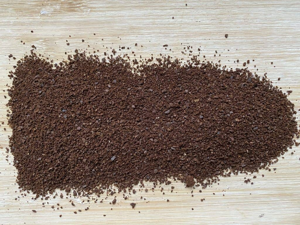 Coffee ground by using a burr coffee grinder
