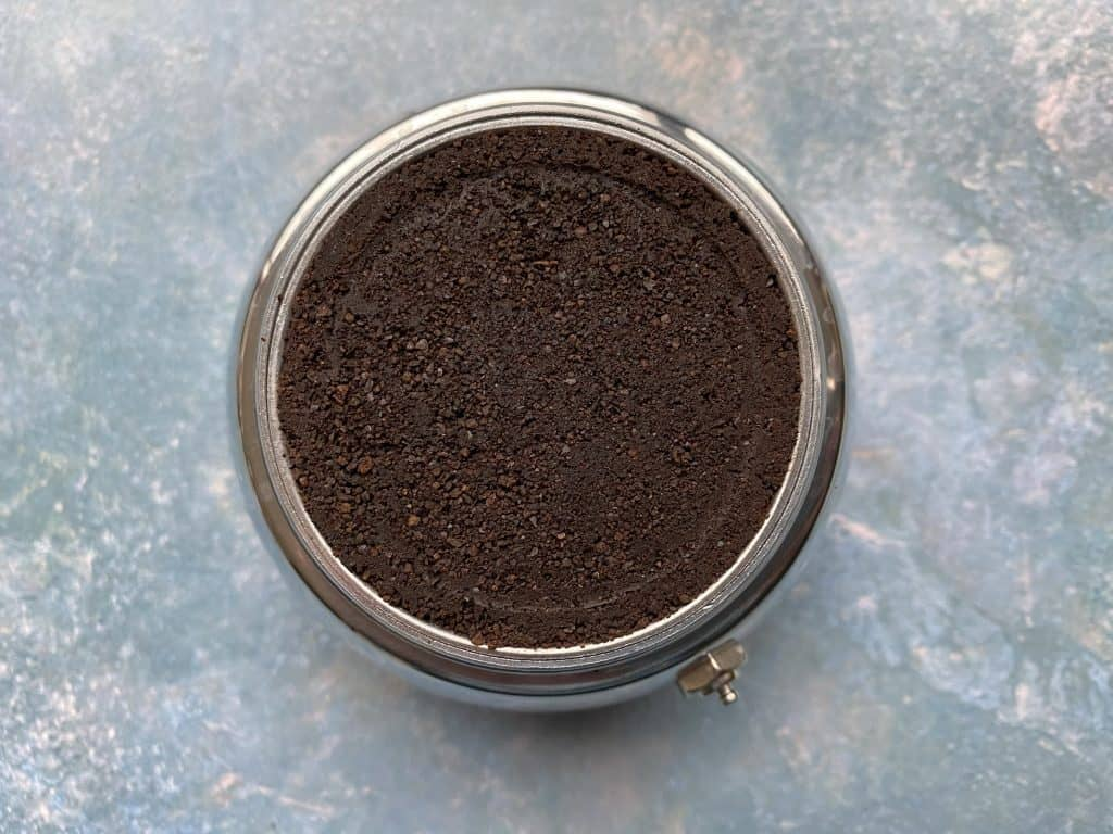 Coffee puck after the brewing process