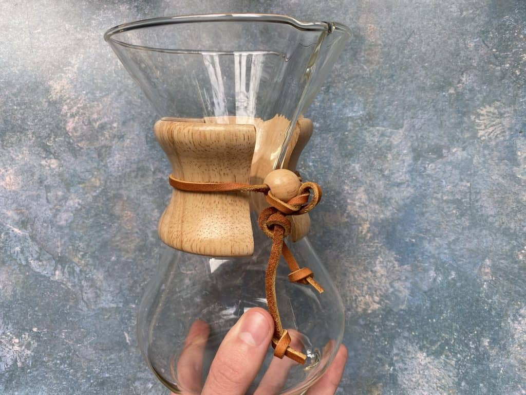 """""""The Chemex I use at home with a wooden collar and leather string attached"""""""
