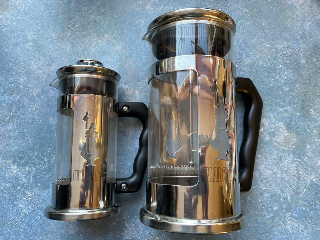 """""""Two versions of the French press next to each other"""""""