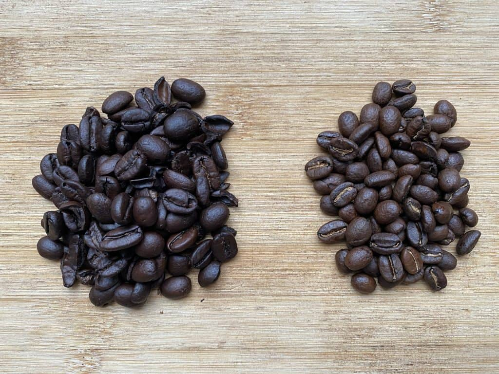 """""""Dark roasted coffee beans compared to medium roasted coffee beans"""""""