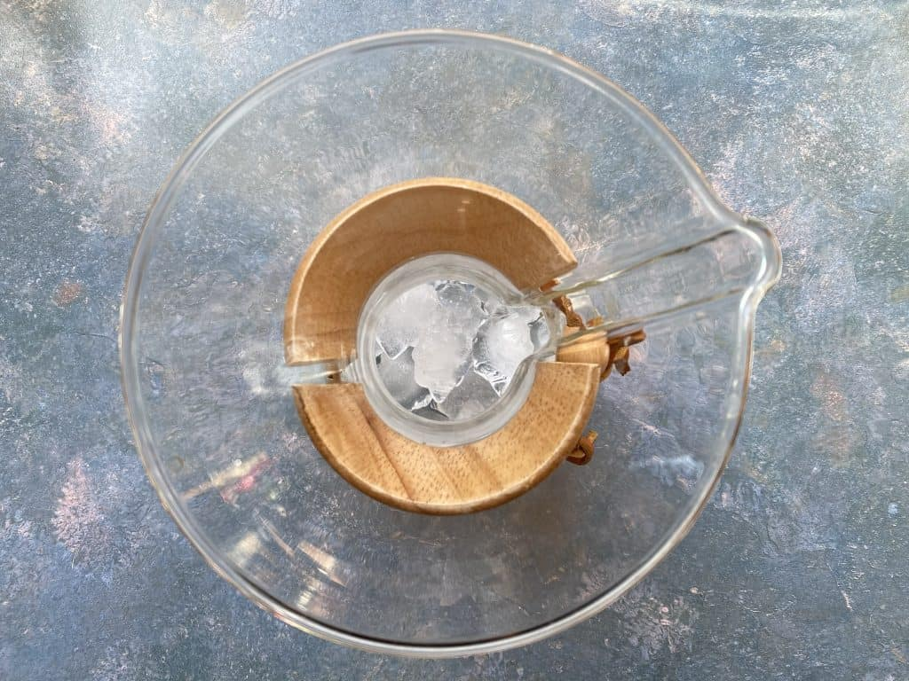 """""""Ice cubes in bottom compartment of the Chemex."""""""