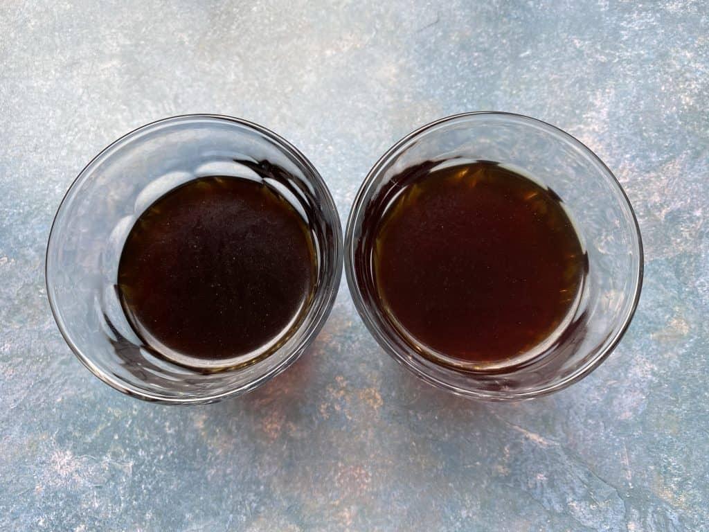 """Regular cold brew coffee and cold brew concentrate comparison in glasses."""