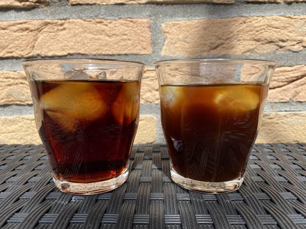 """""""Iced Americano vs. cold brew coffee comparison."""""""