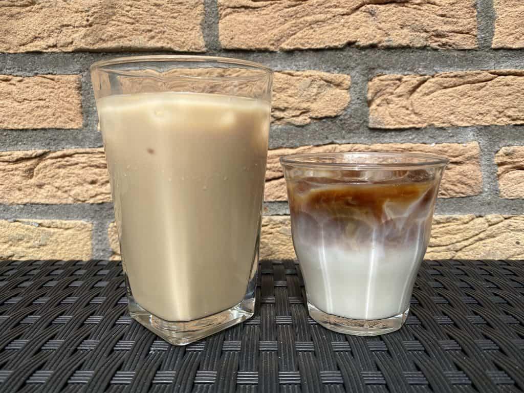 """""""Iced latte vs. iced macchiato comparison."""""""