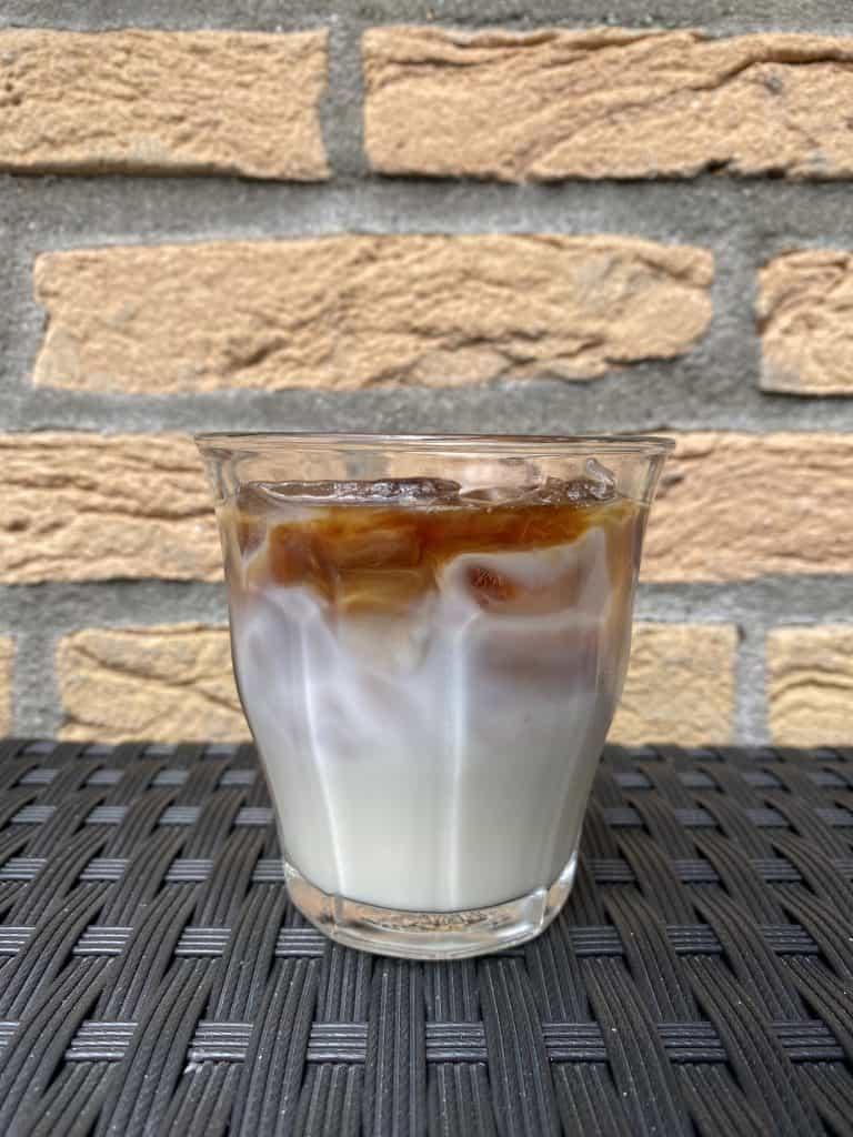 """""""Iced macchiato in a glass."""""""