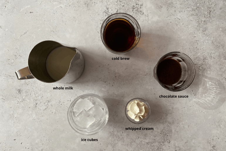 """""""All ingredients used in the cold brew iced mocha recipe."""""""