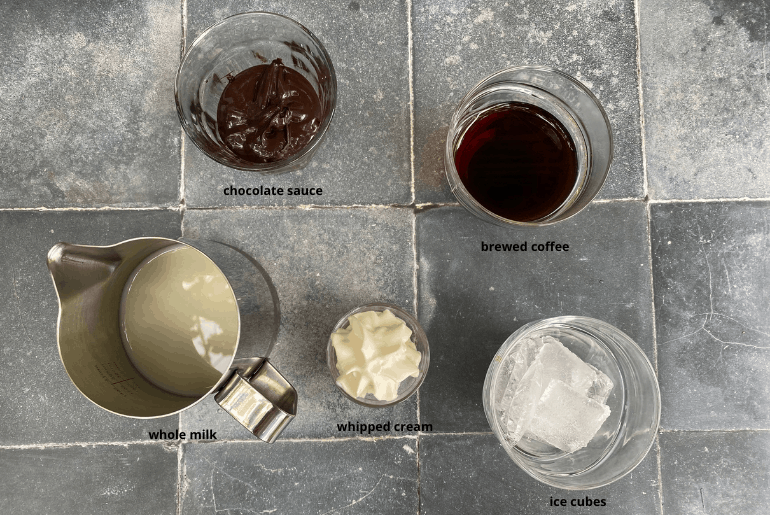 Ingredients used to make an iced mocha at home.