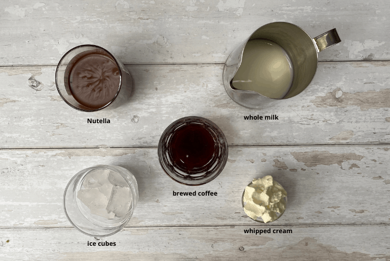 All ingredients used to make a Nutella iced coffee at home.