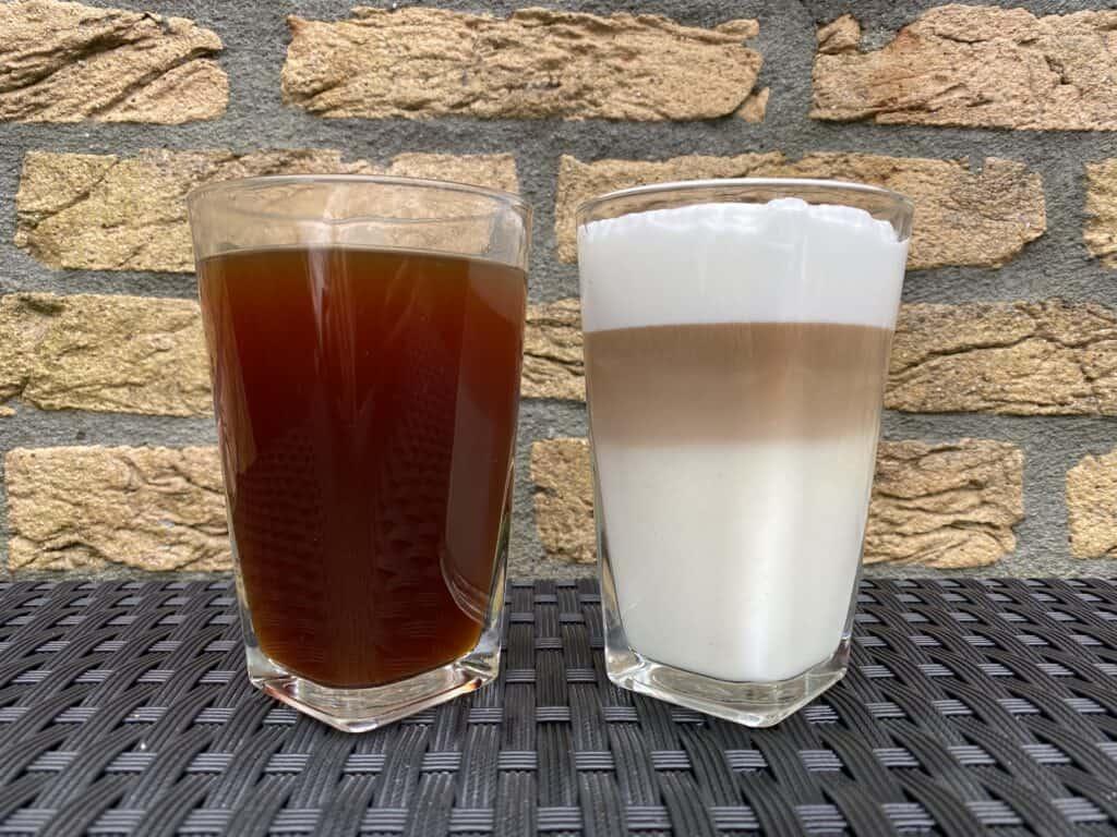 Americano vs. latte comparison next to each other.