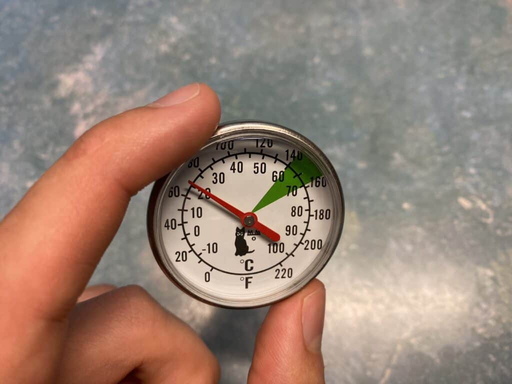 A thermometer used to scald milk perfectly.