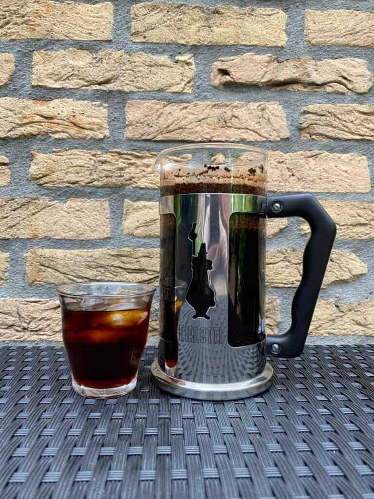 Freshly made cold brew using a French press.