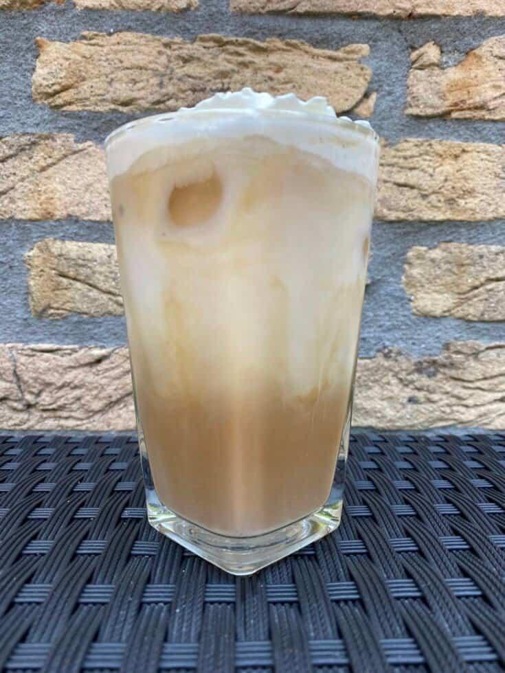 Iced white chocolate latte recipe.