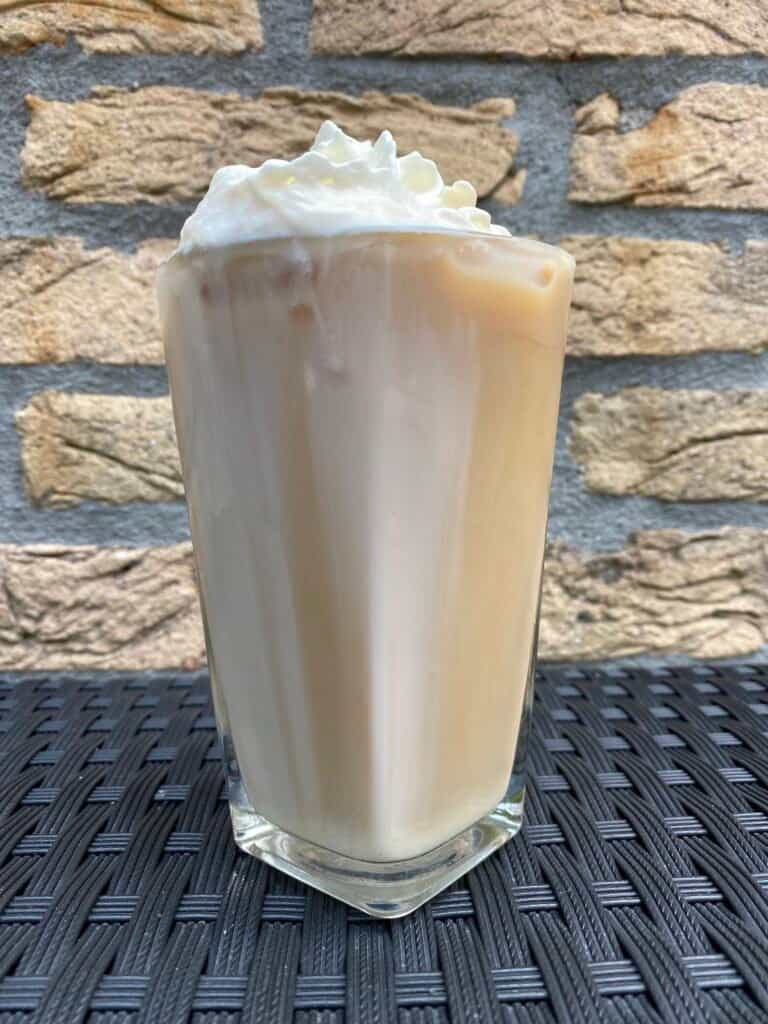 Iced white chocolate mocha, ready to drink.