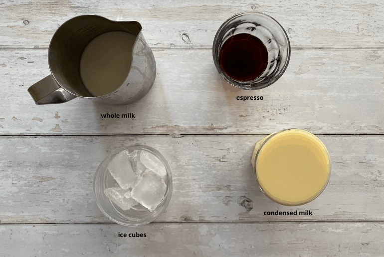 All ingredients that are used to make an iced Spanish latte at home.