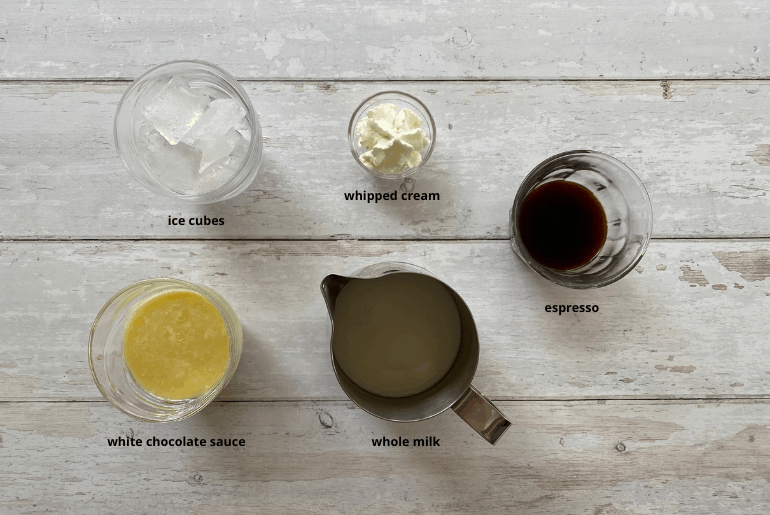 All ingredients used to make an iced white chocolate latte at home.
