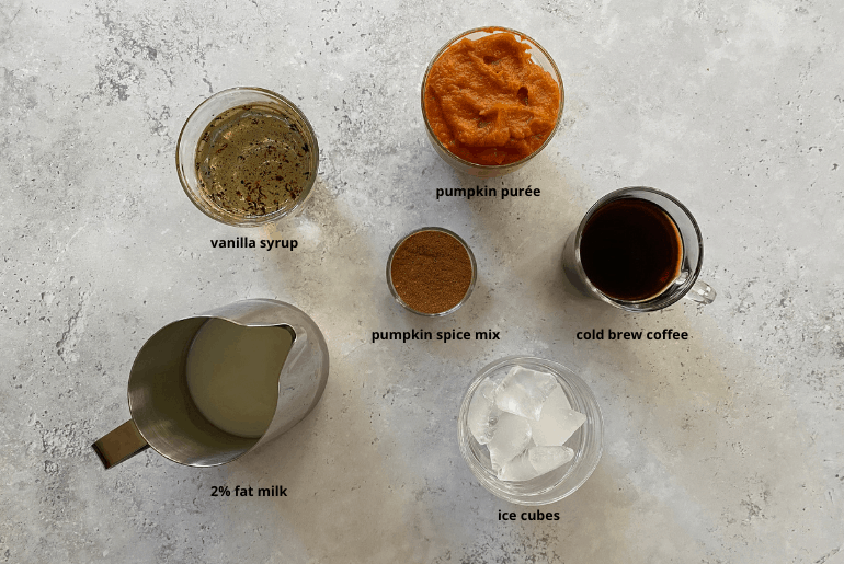 All ingredients needed to make a pumpkin cream cold brew coffee at home.