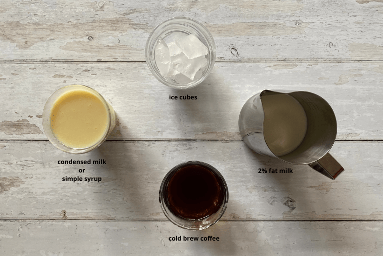 All ingredients used to make a Spanish latte cold brew.