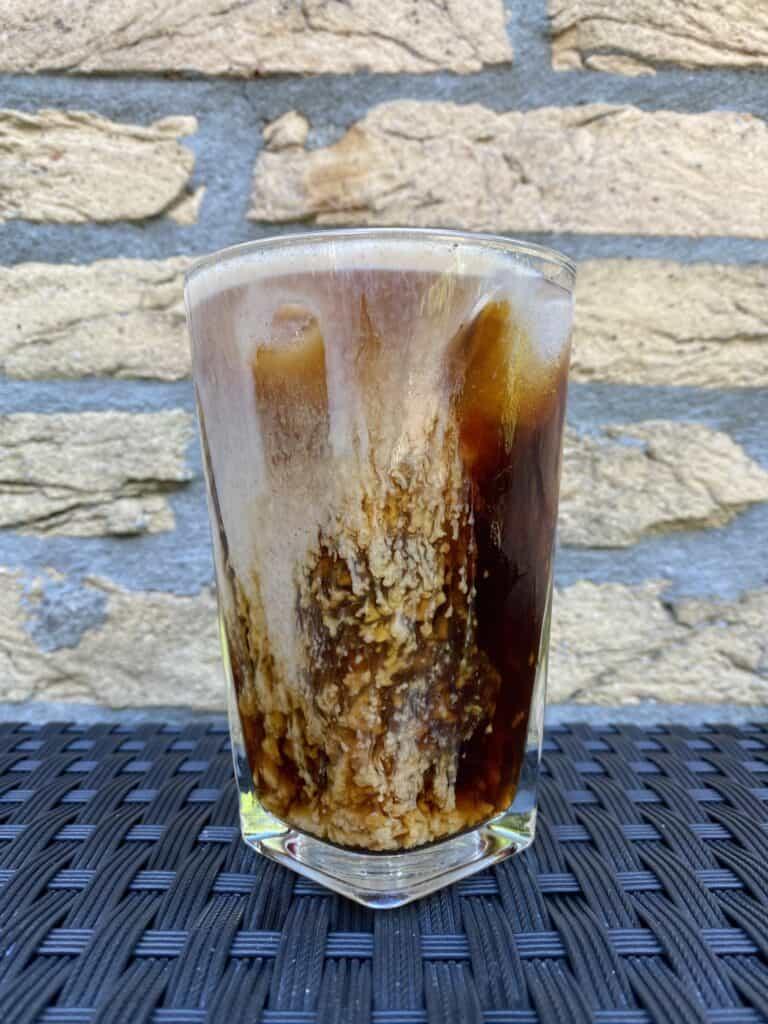 Pumpkin cream cold brew coffee, ready to drink.