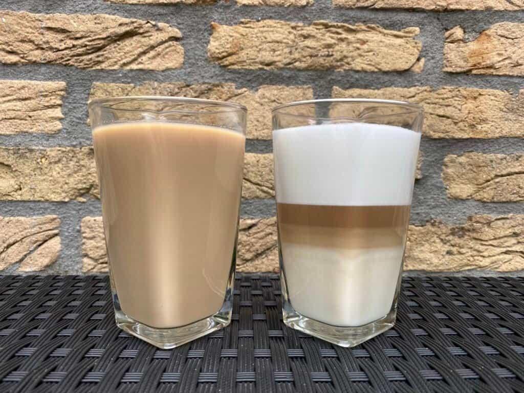 Caffè Misto vs. latte next to each other.