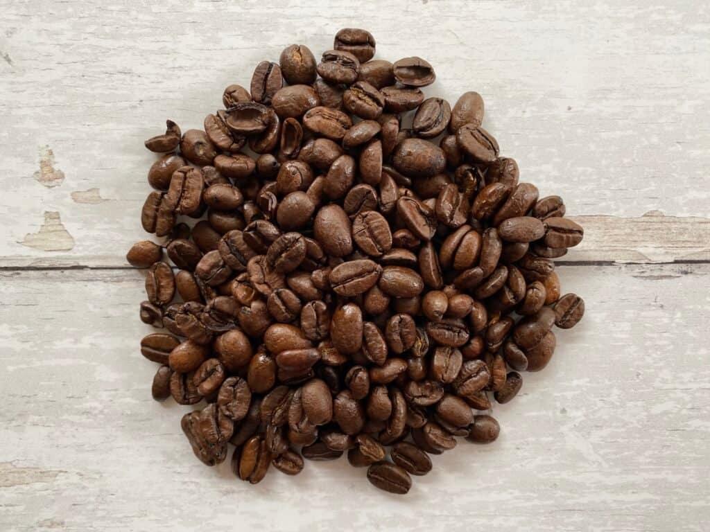 Dark roasted coffee beans.