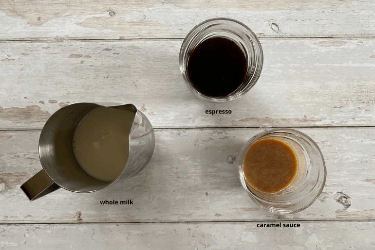 All ingredients needed to make a caramel latte at home.