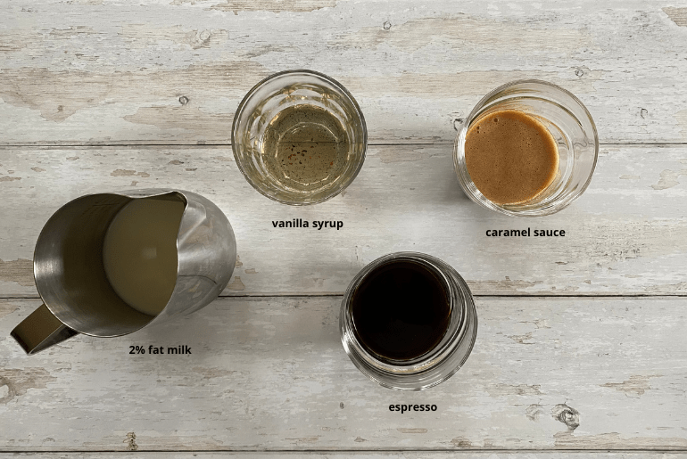 All ingredients needed to make a caramel macchiato at home.
