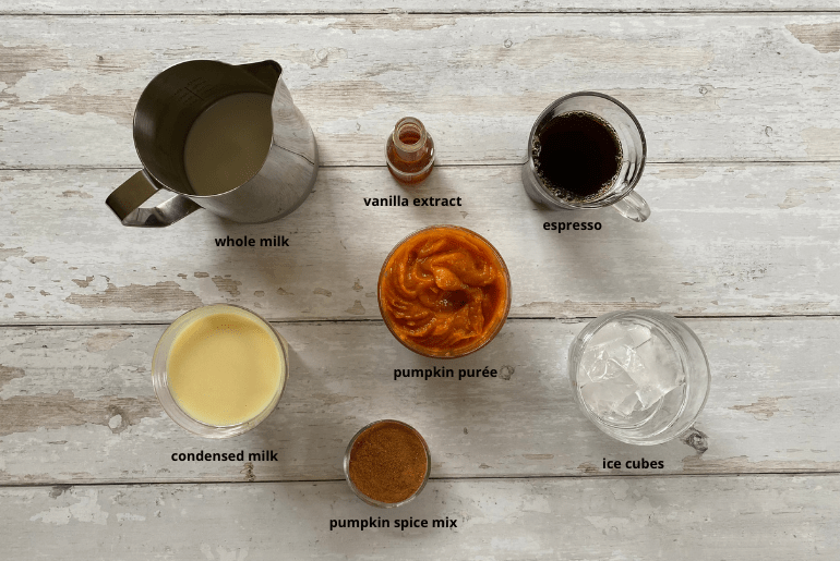 All ingredients needed to make an iced pumpkin spice latte at home.