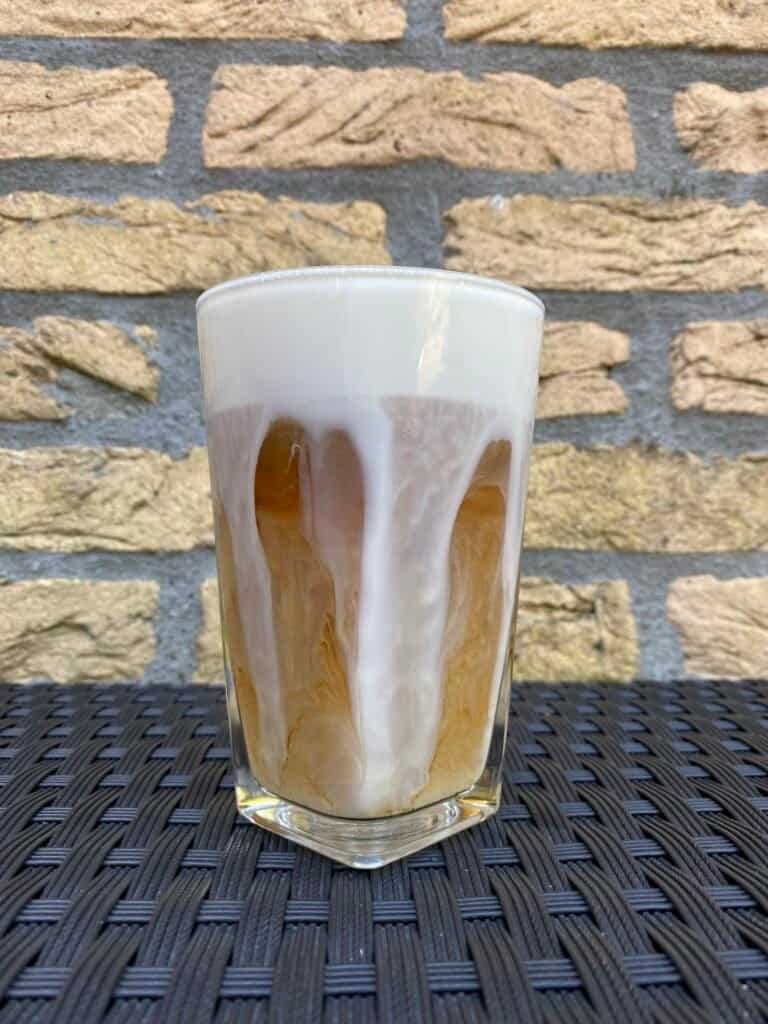 Homemade cold brew latte.