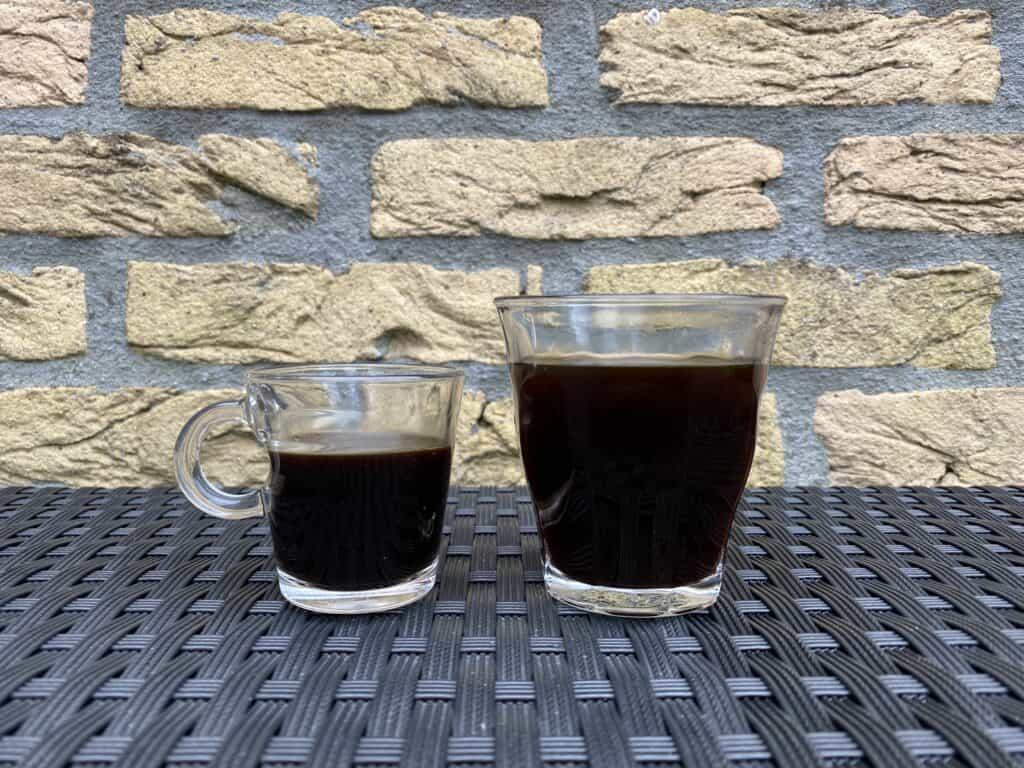 Espresso and Americano next to each other for comparison.
