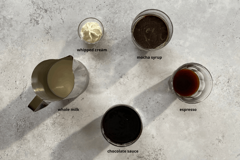 All ingredients needed to make a mocha latte at home.
