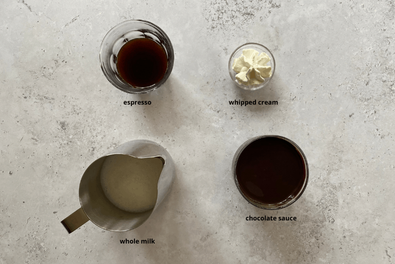 All ingredients that you need to make a mocha coffee at home.