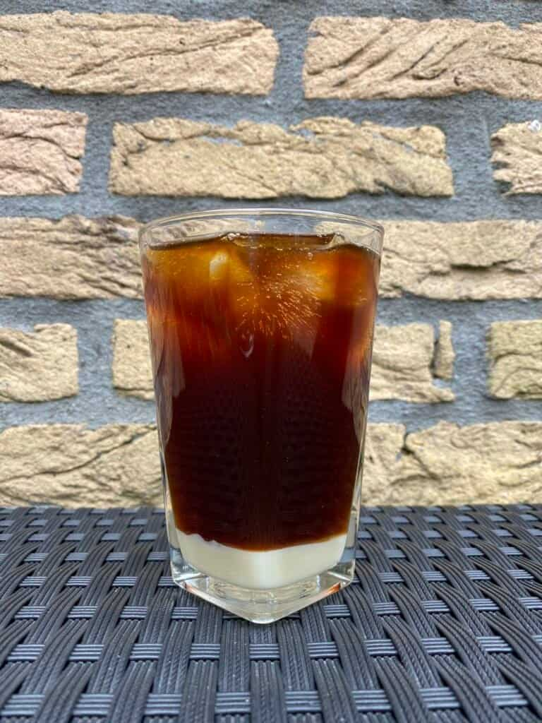 Iced coffee with condensed milk.