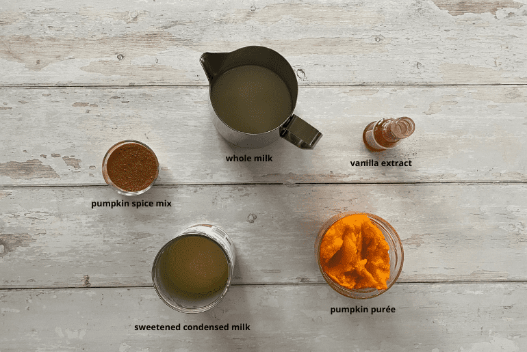All the ingredients needed to make the pumpkin spice creamer at home.