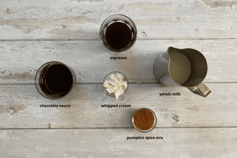 All ingredients that are used to make a pumpkin spice mocha at home.